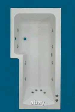12 JET TROJAN SOLARNA 1500mm L SHAPED LH + CHROMOTHERAPY LIGHT SPA BATH