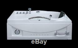 1680mm x 850mm WHIRLPOOL STRAIGHT Bath Spa Taps Waste Panel Lights Jets