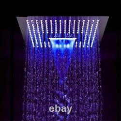 64 Color 3 Function Big Led Shower Head Wat Spa Rainfall Stainless Steel Chrome