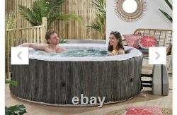 6 person inflatable hot tub wood-effect spa with floating LED light FREE POSTING