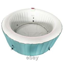ALEKO Inflatable Hot Tub Spa With Cover 4 Person 210 Gallon Light Blue and White