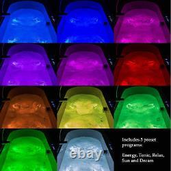 Adonis 1200x700mm 35 Flush-jet whirlpool & spa bath with Chromotherapy Lighting