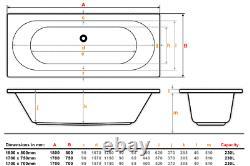 Apollo 1700x700mm 42 Sensa-jet whirlpool & spa bath with Chromotherapy Lighting