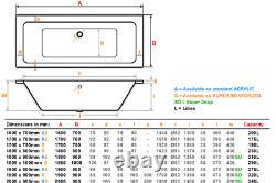 Artemis 1800x800mm 42 Flush-jet whirlpool & spa bath with Chromotherapy Lighting