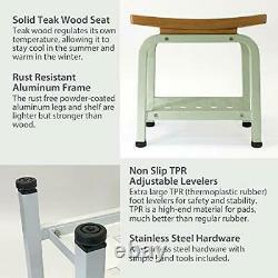 Bali Teak & Aluminum Indoor Outdoor Shower/Bath/Spa/Patio Stool Light Sage