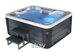 Black Hot Tub 5 Seat 32Amp Grey Bluetooth Music Lights NEW Style Quartz Spa