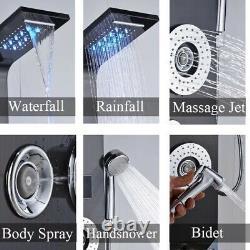 Black LED Light Rain Shower Faucet Bathroom Spa Massage Jet Shower Column System