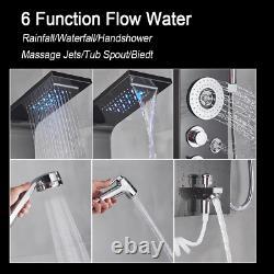 Black LED Light Shower Faucet Bathroom SPA Massage Jet Column System Waterfall