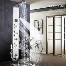 Black LED Light Shower Faucet Bathroom SPA Massage Jet Waterfall Rain Shower
