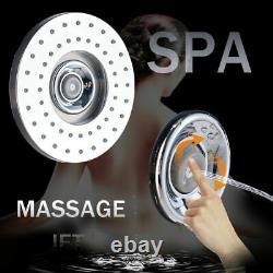 Black LED Light Shower Faucet Rain Bathroom SPA Massage Jet Shower Column System