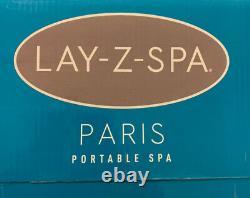 Brand NEW Lay Z Spa PARIS 4-6 Person Hot Tub LED Lights 7 Colours Vegas White