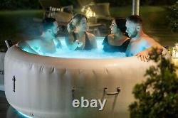 Brand NEW Lay Z Spa PARIS 6 Person Hot Tub LED Lights 7 Colours Lazy White