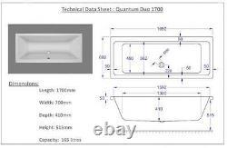 Carron Quantum Duo 1700 x 700 11 Jet Whirlpool Spa Bath + Free LED Light