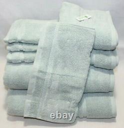 DKNY Eight Piece Solid Soft Light Green Bathroom Towel Set 100% Cotton New