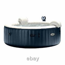Intex 75 Inch 6 Person Inflatable Hot Tub with Spa LED Light and Cup Holder/Tray