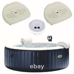 Intex PureSpa Inflatable 6 Person Hot Tub, Battery LED Light, Spa Seat (2 Pack)