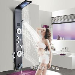 LED Light Digita temperature Shower Panel Column with Massage SPA 5 Functions