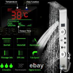 LED Light Digital Display Shower panel column 6 Multi-functional Massage SPA Jet