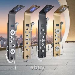 LED Light Shower Panel Column With Digital Temperature Screen Massage Jets SPA