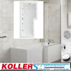 L Shape 1700 Left Right Hand 6 or 8 Jet Shower Bath with Panel Screen Light SPA