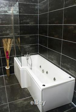 Left Hand L Shape Jacuzzi Type Spa Bath & Screen with Whirlpool & Light