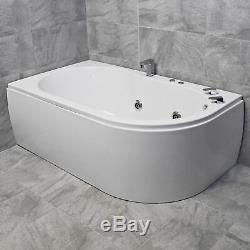 Luxury Corner Bath With Whirlpool Jacuzzi Spa Jets + Light Options 1550 x 900mm