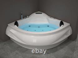 Modern Massage Spa Bathtub Sanitary Acrylic with LED Lights White Monaco