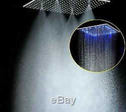 Multi Function Led Shower Heads 20'' Ceiling RGB Rain Rainfall&Spa Light Shower