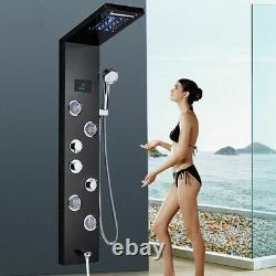 Newly LED Light Shower Panel Waterfall Rain Shower Faucet Set SPA Massage Body