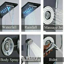 Rain Bathroom SPA Massage Jet ShowerBlack LED Light Shower Column System
