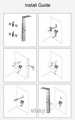 Rain Bathroom SPA Massage Jet Shower Column SystemBlack LED Light Shower tap