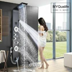Shower Faucet Black LED Light Bathroom SPA Massage Jet Column System Waterfall