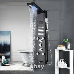 Shower Panel Column LED Light Digita Rainfall Shower Faucet with Massage SPA