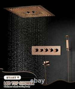 Spa Rain Shower With LED Lights Rose Gold Bathroom Thermostatic Mixer Head Set