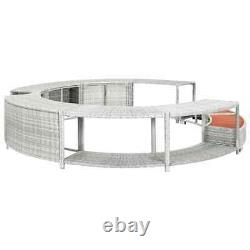 VidaXL Spa Surround Light Grey Poly Rattan Pool Spa Accessory Hot Tub Surround