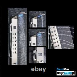 Wall Mounted RVS Bathroom Spa Shower Panel Tower LED Light and 8 Jets