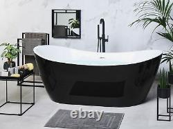 Whirlpool Bath Hot Tub Spa Free Standing LED Lights Jets Black Antigua