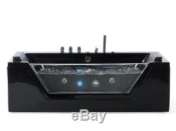 Whirlpool Bathtub Black Self-Supporting With Glass LED Light Fitting Spa For Bad