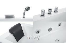 Whirlpool Bathtub Corner Bath Spa Left With Faucet Mixer Fittings Light 6 Nozzle
